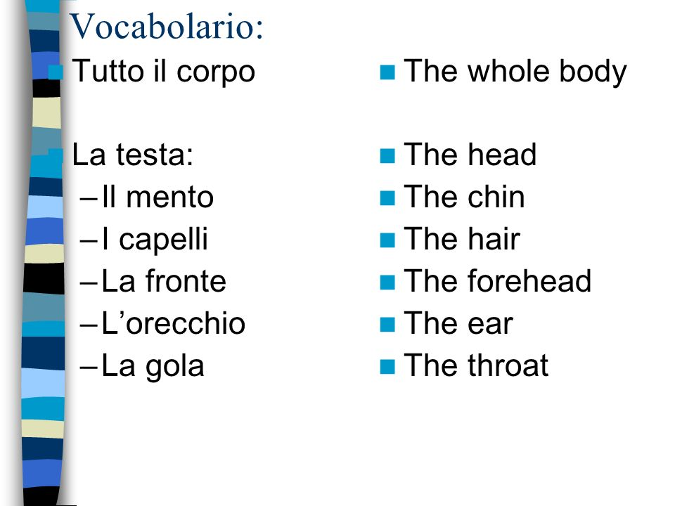 Vocabolario – le parti del viso il viso/la faccia: –Locchio/gli occhi –Il naso –La bocca –Le labbra –Il dente/i denti - La lingua - Le ciglia - Le sopraciglia - La guancia The face The eye/eyes The nose The mouth The lips The tooth/teeth The tongue The eyelash The eyebrow The cheek