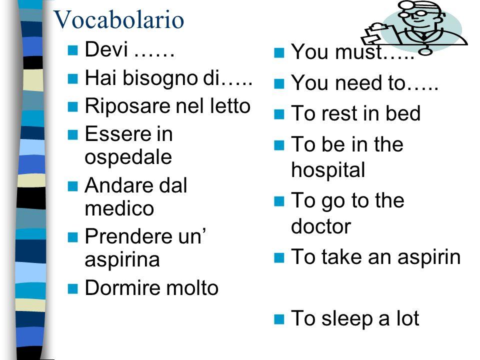 Vocabolario Devi …… Hai bisogno di….. Riposare nel letto Essere in ospedale Andare dal medico Prendere un aspirina Dormire molto You must….. You need