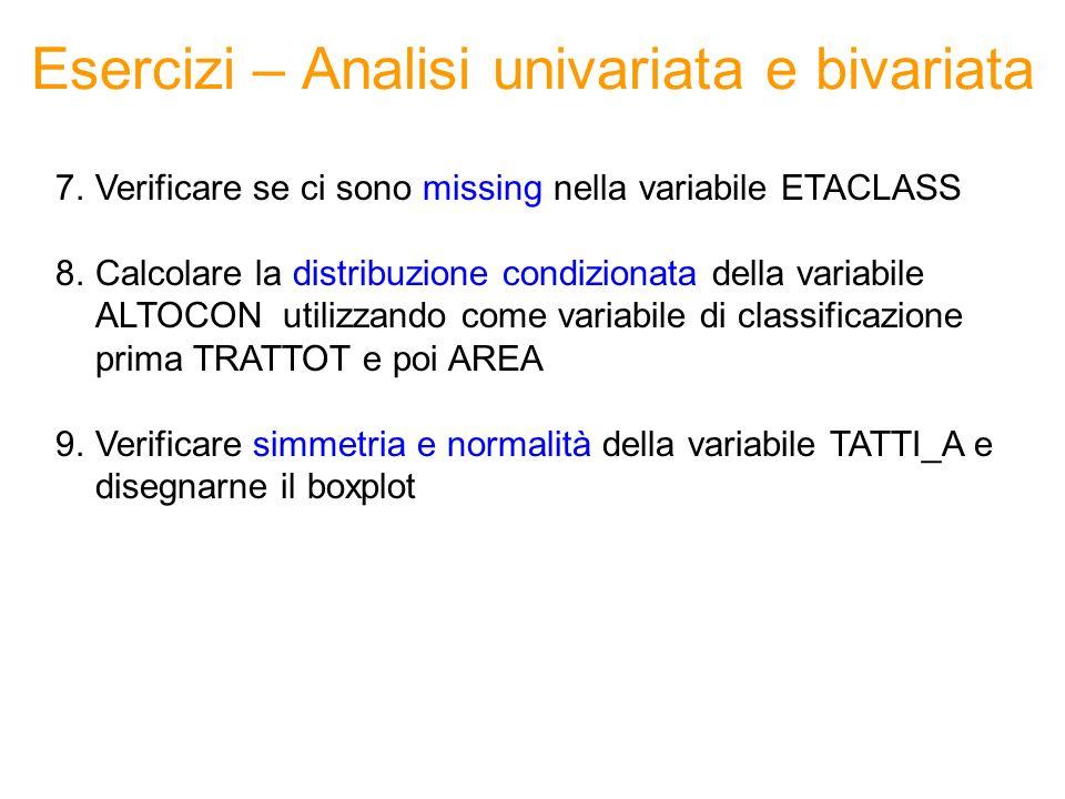 Esercizi – Analisi univariata e bivariata 7.Verificare se ci sono missing nella variabile ETACLASS 8.Calcolare la distribuzione condizionata della var
