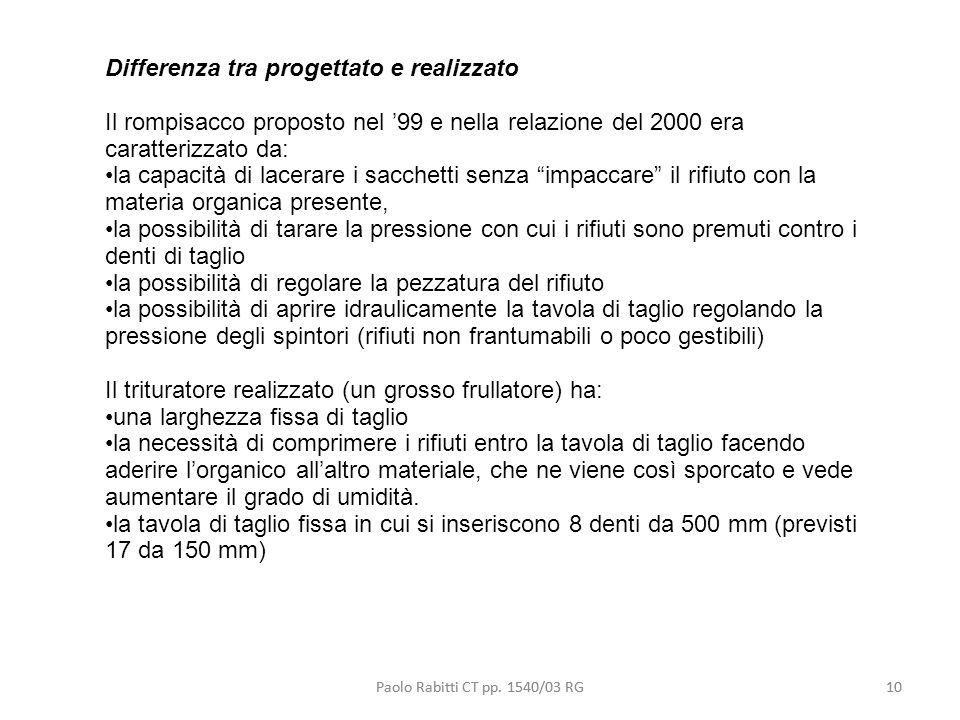 10 Differenza tra progettato e realizzato Il rompisacco proposto nel 99 e nella relazione del 2000 era caratterizzato da: la capacità di lacerare i sa