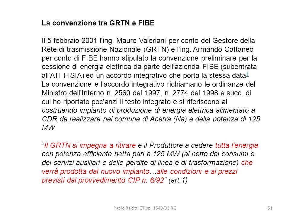 Paolo Rabitti CT pp. 1540/03 RG51 La convenzione tra GRTN e FIBE Il 5 febbraio 2001 l'ing. Mauro Valeriani per conto del Gestore della Rete di trasmis
