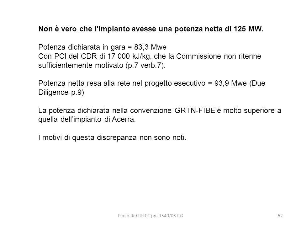 Paolo Rabitti CT pp. 1540/03 RG52 Non è vero che l'impianto avesse una potenza netta di 125 MW. Potenza dichiarata in gara = 83,3 Mwe Con PCI del CDR