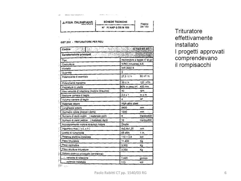 6 Trituratore effettivamente installato I progetti approvati comprendevano il rompisacchi Paolo Rabitti CT pp. 1540/03 RG6