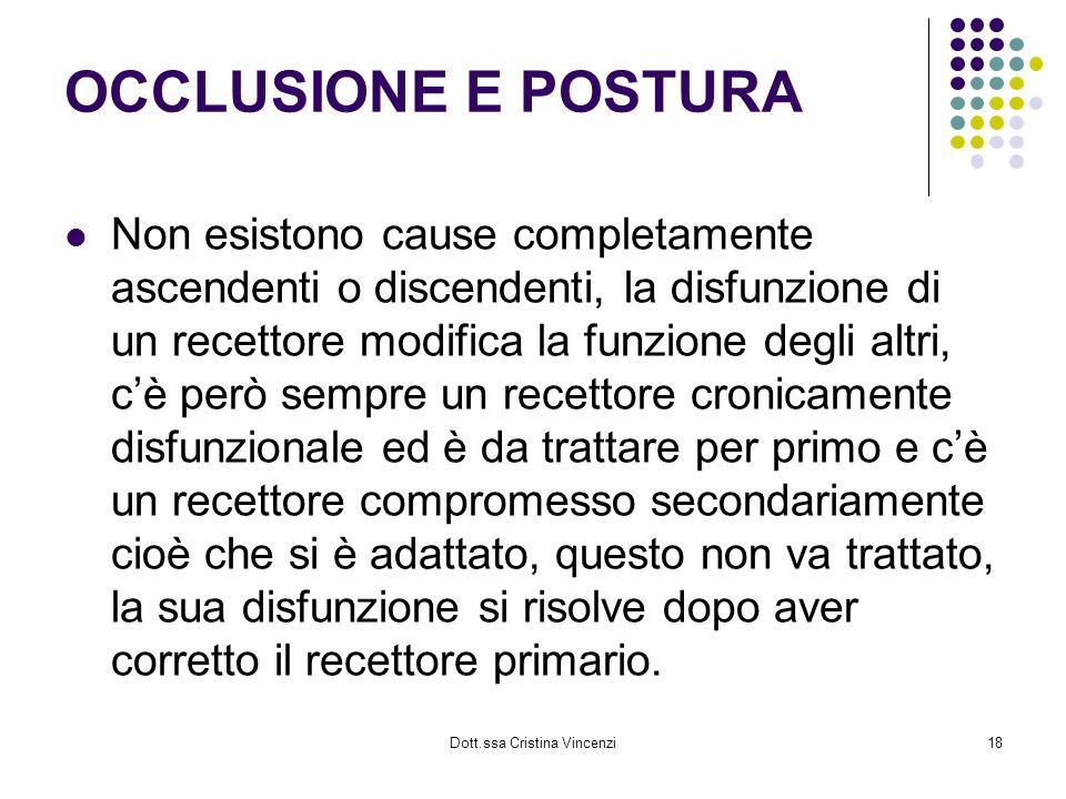 Dott.ssa Cristina Vincenzi18 OCCLUSIONE E POSTURA Non esistono cause completamente ascendenti o discendenti, la disfunzione di un recettore modifica l