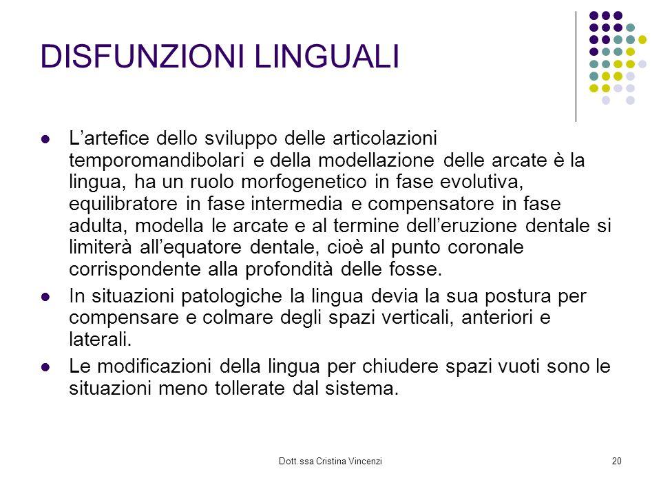 Dott.ssa Cristina Vincenzi20 DISFUNZIONI LINGUALI Lartefice dello sviluppo delle articolazioni temporomandibolari e della modellazione delle arcate è