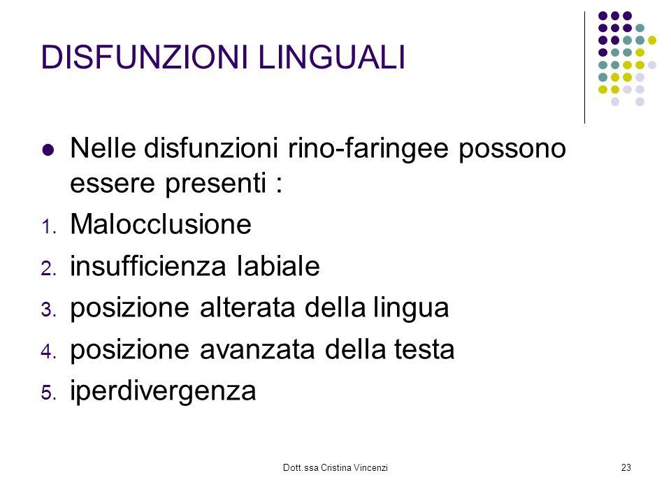 Dott.ssa Cristina Vincenzi23 DISFUNZIONI LINGUALI Nelle disfunzioni rino-faringee possono essere presenti : 1. Malocclusione 2. insufficienza labiale