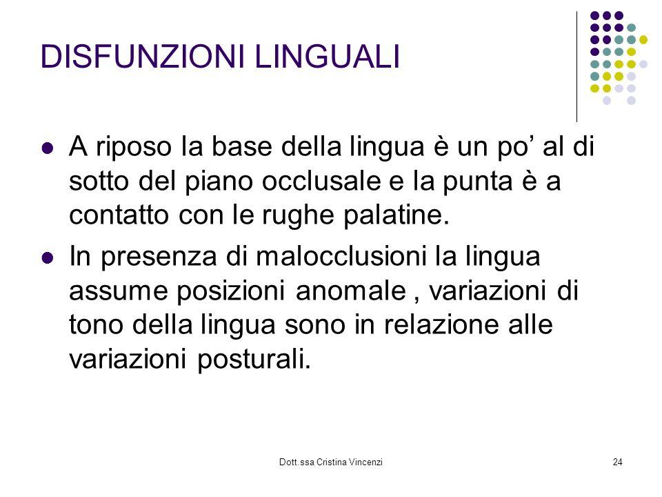 Dott.ssa Cristina Vincenzi24 DISFUNZIONI LINGUALI A riposo la base della lingua è un po al di sotto del piano occlusale e la punta è a contatto con le