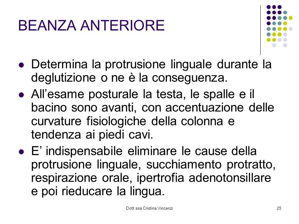 Dott.ssa Cristina Vincenzi25 BEANZA ANTERIORE Determina la protrusione linguale durante la deglutizione o ne è la conseguenza. Allesame posturale la t