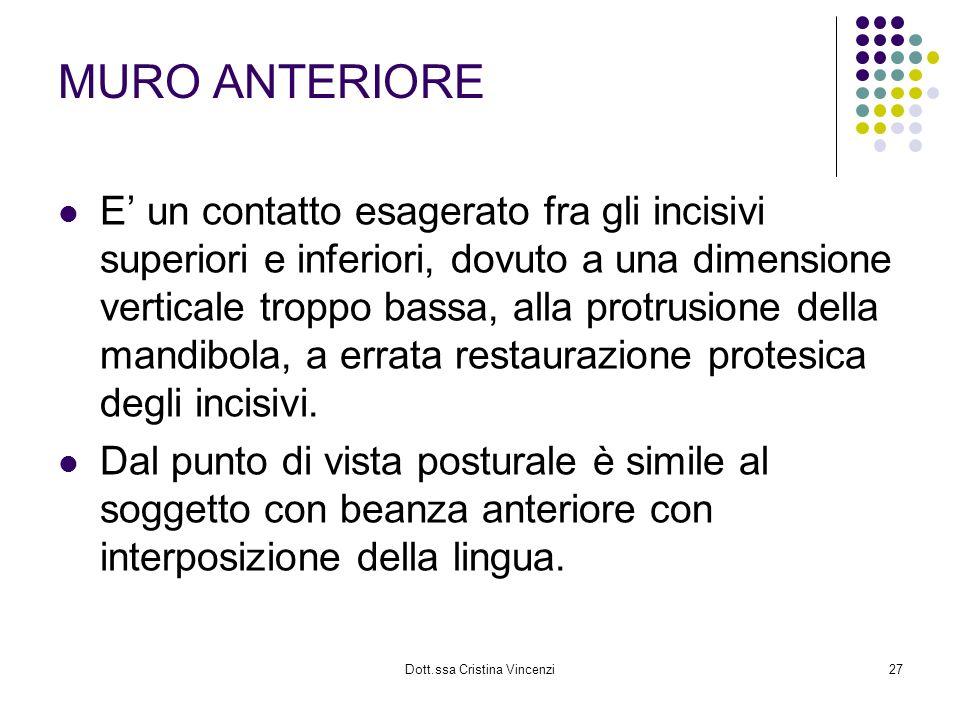 Dott.ssa Cristina Vincenzi27 MURO ANTERIORE E un contatto esagerato fra gli incisivi superiori e inferiori, dovuto a una dimensione verticale troppo b