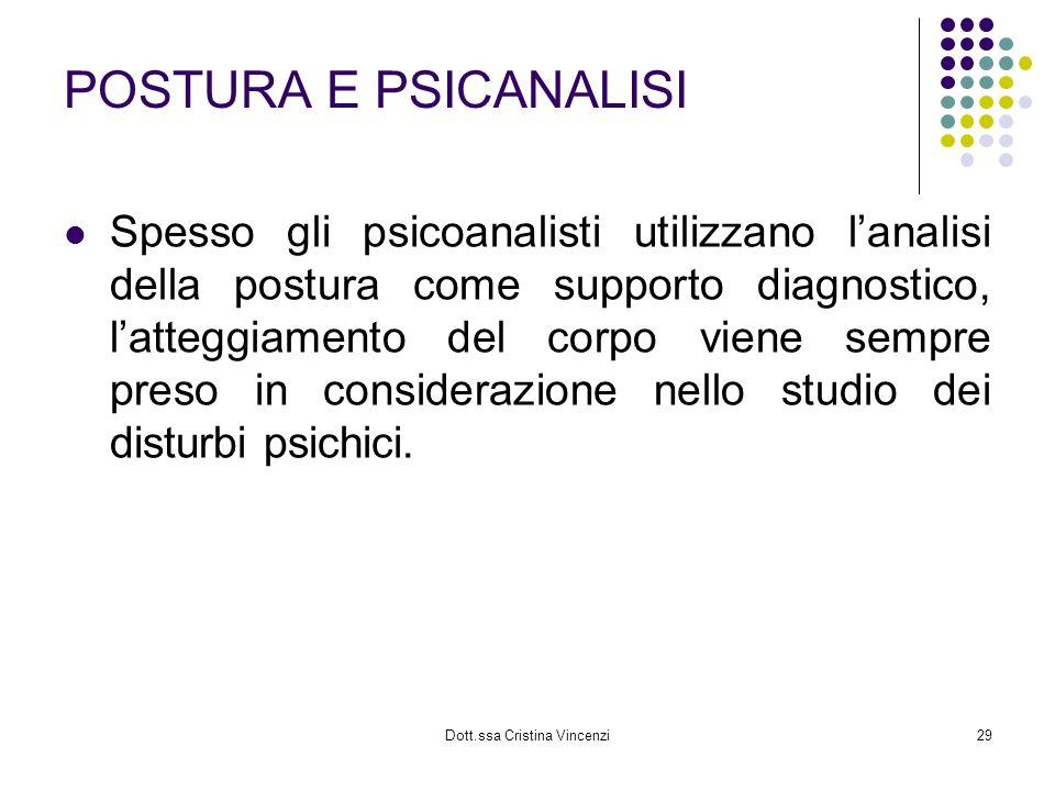 Dott.ssa Cristina Vincenzi29 POSTURA E PSICANALISI Spesso gli psicoanalisti utilizzano lanalisi della postura come supporto diagnostico, latteggiament
