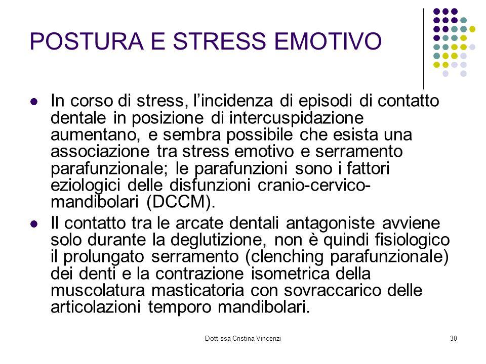 Dott.ssa Cristina Vincenzi30 POSTURA E STRESS EMOTIVO In corso di stress, lincidenza di episodi di contatto dentale in posizione di intercuspidazione