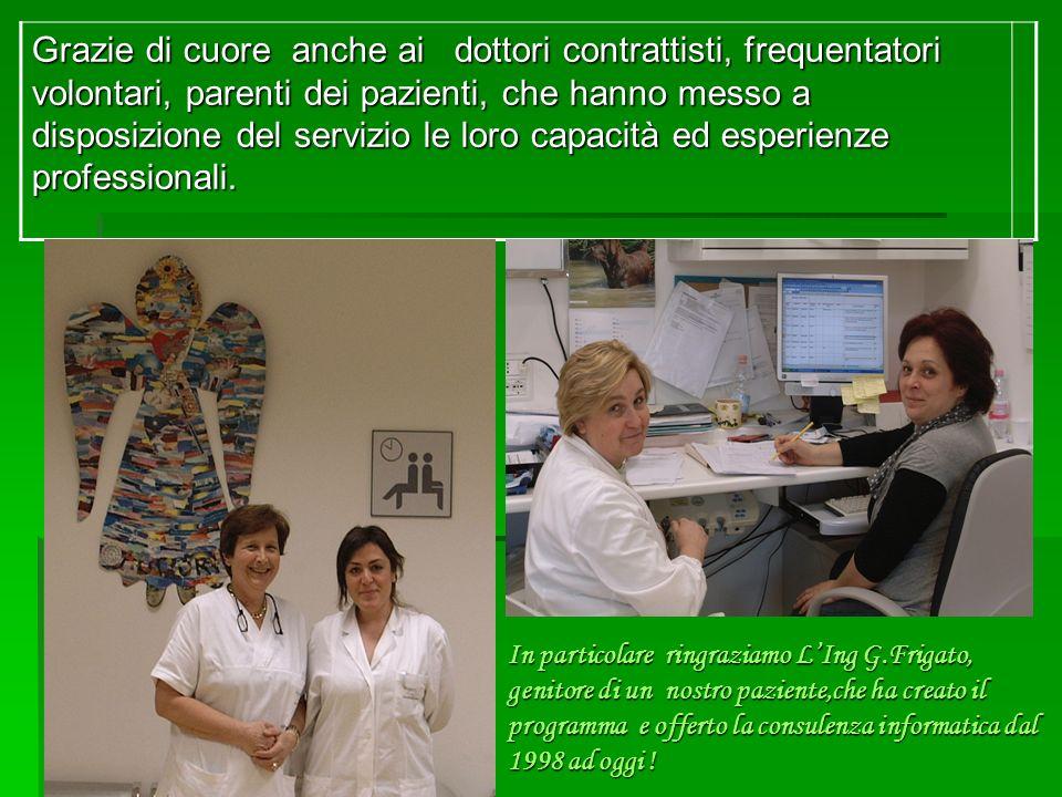 In particolare ringraziamo LIng G.Frigato, genitore di un nostro paziente,che ha creato il programma e offerto la consulenza informatica dal 1998 ad oggi .