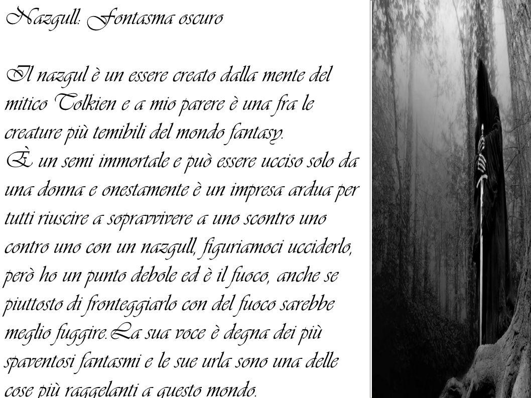 Nazgull: Fontasma oscuro Il nazgul è un essere creato dalla mente del mitico Tolkien e a mio parere è una fra le creature più temibili del mondo fanta