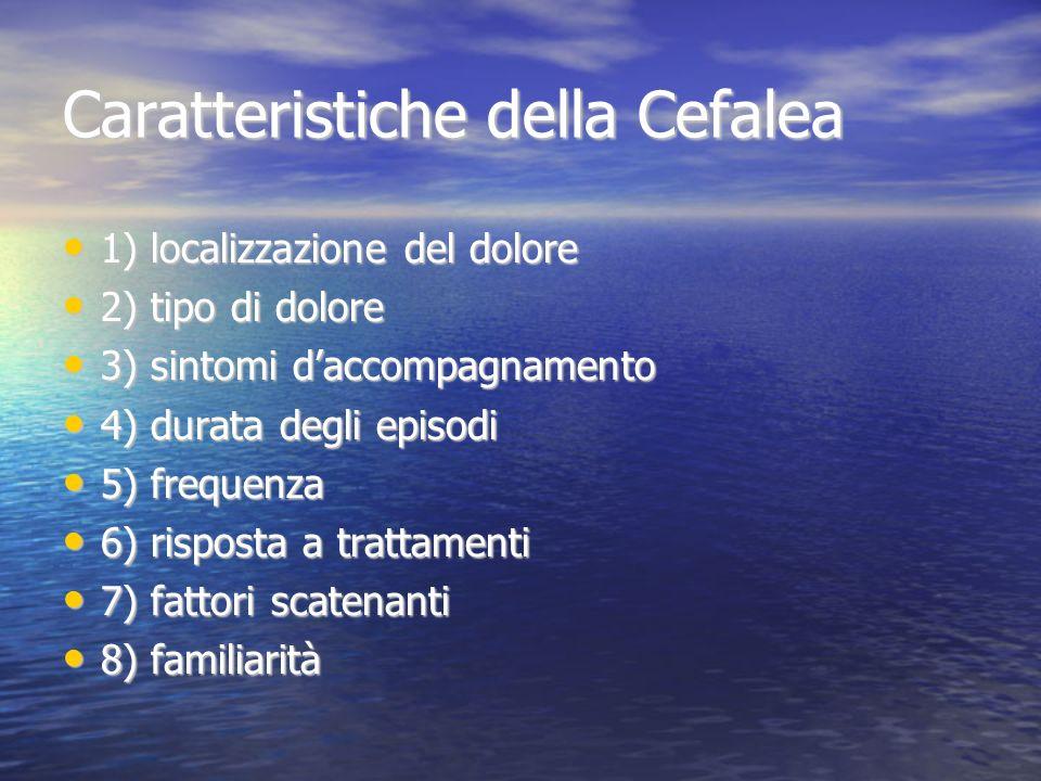 Caratteristiche della Cefalea 1) localizzazione del dolore 1) localizzazione del dolore 2) tipo di dolore 2) tipo di dolore 3) sintomi daccompagnament