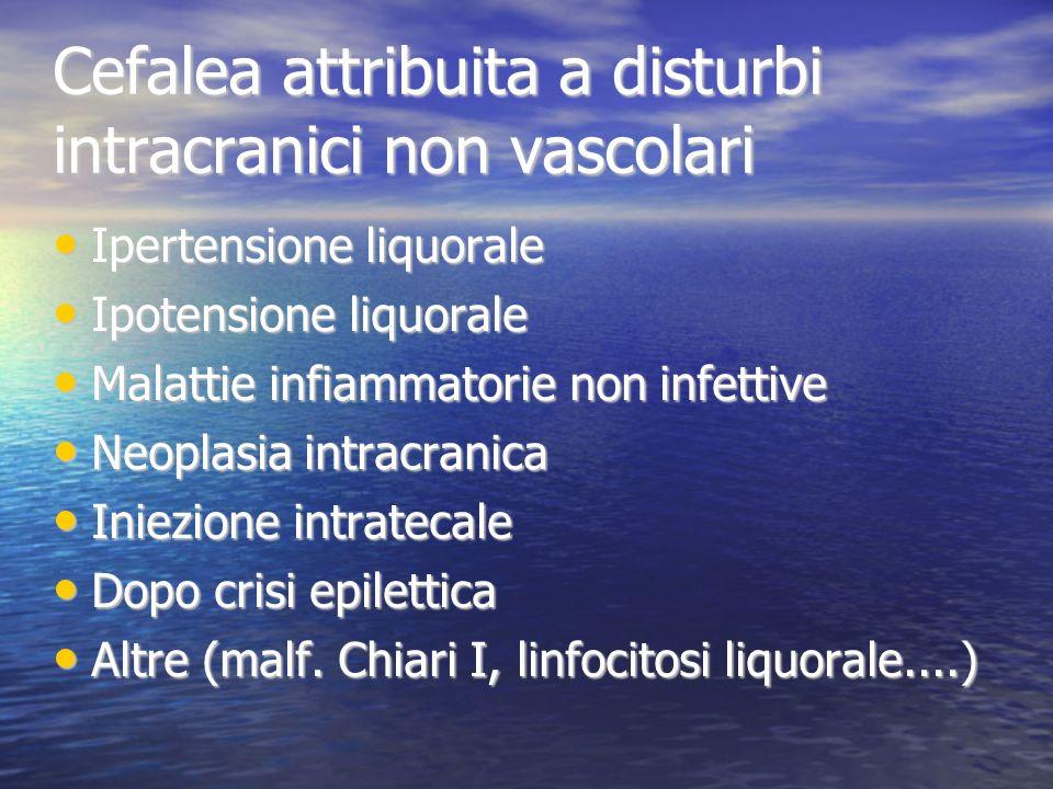 Cefalea attribuita a disturbi intracranici non vascolari Ipertensione liquorale Ipertensione liquorale Ipotensione liquorale Ipotensione liquorale Mal