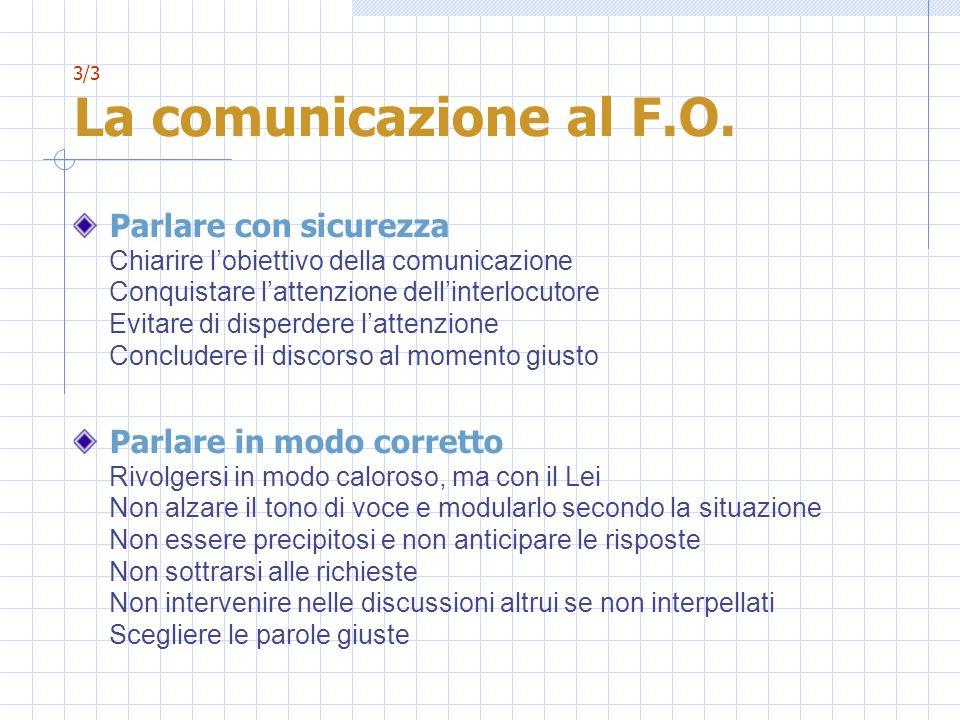 3/3 La comunicazione al F.O. Parlare con sicurezza Chiarire lobiettivo della comunicazione Conquistare lattenzione dellinterlocutore Evitare di disper