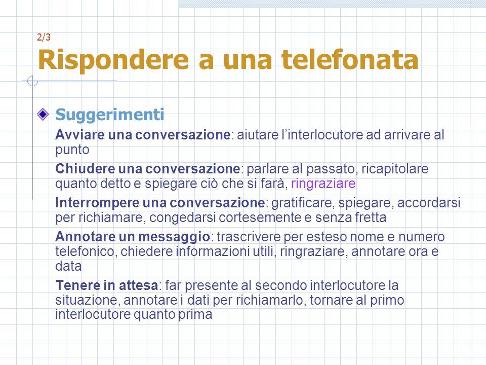2/3 Rispondere a una telefonata Suggerimenti Avviare una conversazione: aiutare linterlocutore ad arrivare al punto Chiudere una conversazione: parlar
