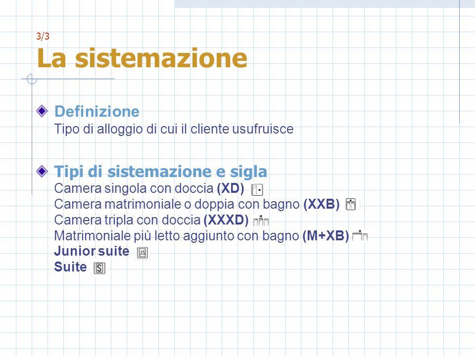3/3 La sistemazione Definizione Tipo di alloggio di cui il cliente usufruisce Tipi di sistemazione e sigla Camera singola con doccia (XD) Camera matrimoniale o doppia con bagno (XXB) Camera tripla con doccia (XXXD) Matrimoniale più letto aggiunto con bagno (M+XB) Junior suite Suite