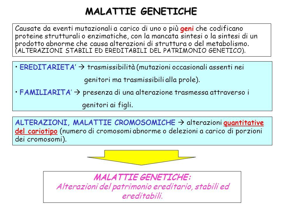 MALATTIE GENETICHE Causate da eventi mutazionali a carico di uno o più geni che codificano proteine strutturali o enzimatiche, con la mancata sintesi