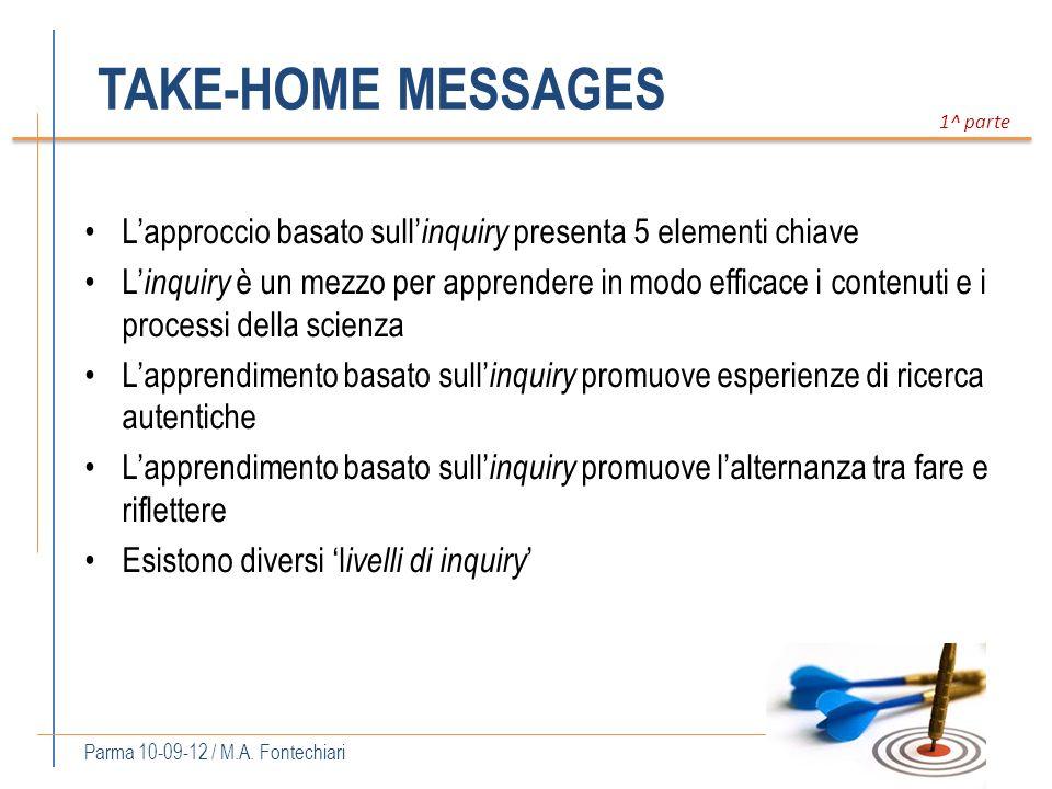 TAKE-HOME MESSAGES Lapproccio basato sull inquiry presenta 5 elementi chiave L inquiry è un mezzo per apprendere in modo efficace i contenuti e i proc