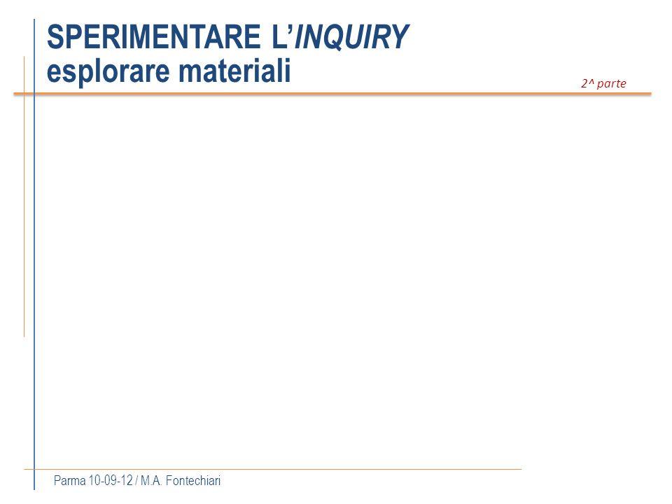 SPERIMENTARE L INQUIRY Parma 10-09-12 / M.A. Fontechiari 2^ parte esplorare materiali