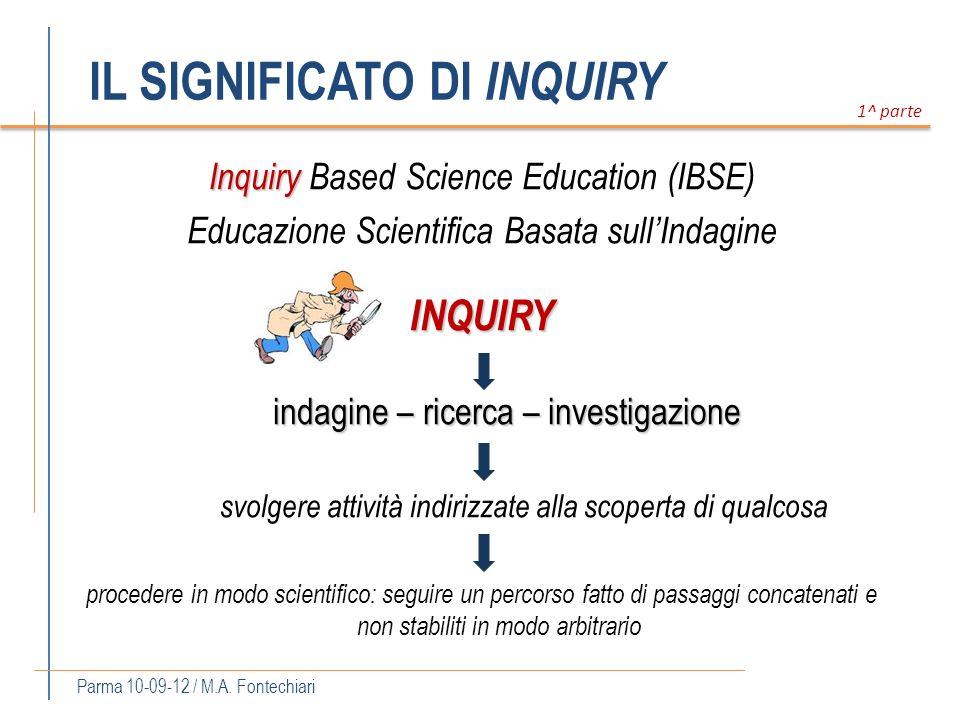 IL SIGNIFICATO DI INQUIRY Parma 10-09-12 / M.A. Fontechiari Inquiry Inquiry Based Science Education (IBSE) Educazione Scientifica Basata sullIndagineI