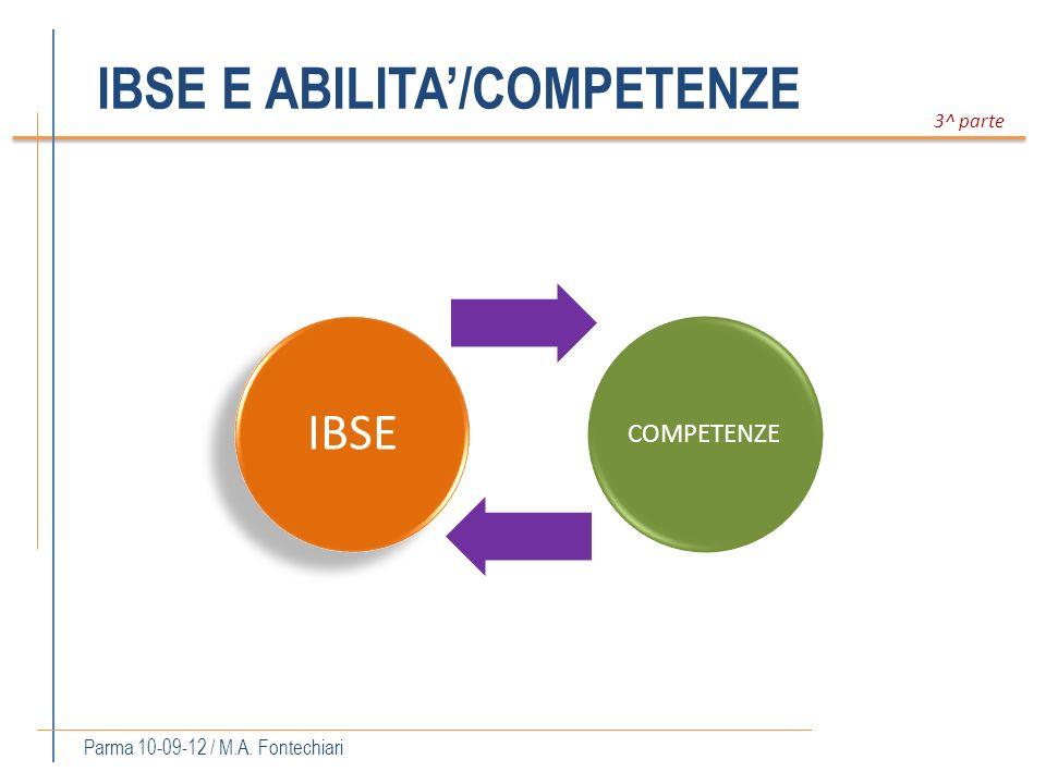 IBSE E ABILITA/COMPETENZE Parma 10-09-12 / M.A. Fontechiari 3^ parte IBSE COMPETENZE