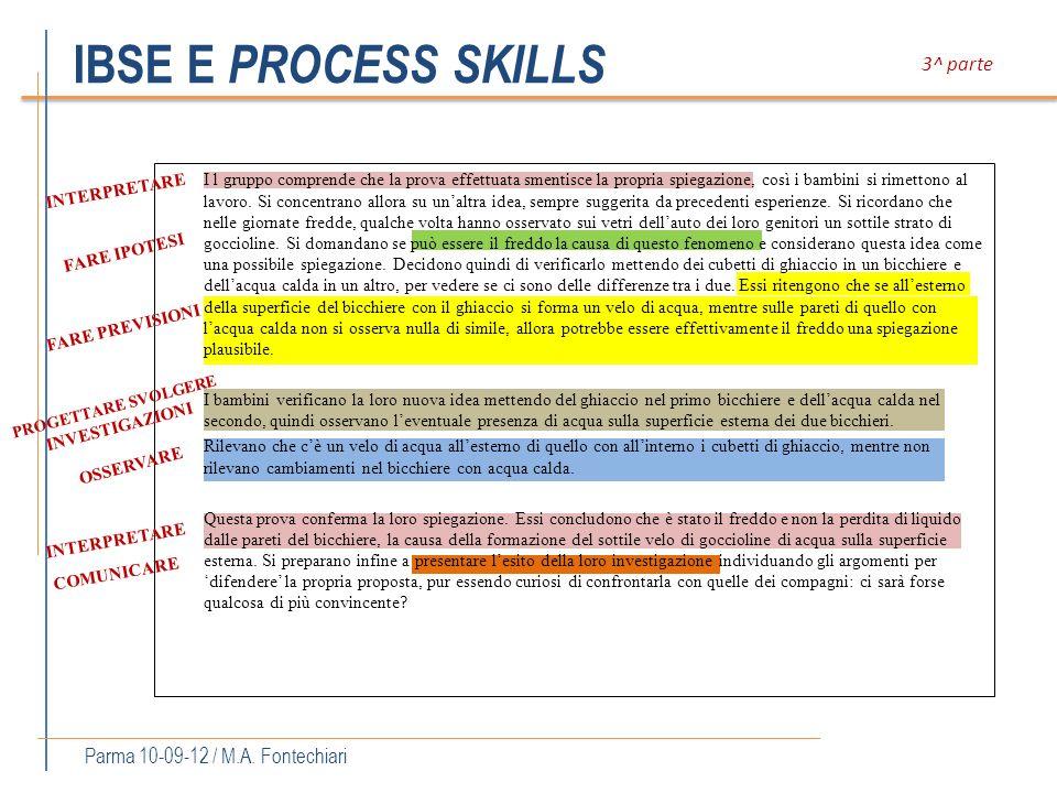 IBSE E PROCESS SKILLS I l gruppo comprende che la prova effettuata smentisce la propria spiegazione, così i bambini si rimettono al lavoro. Si concent