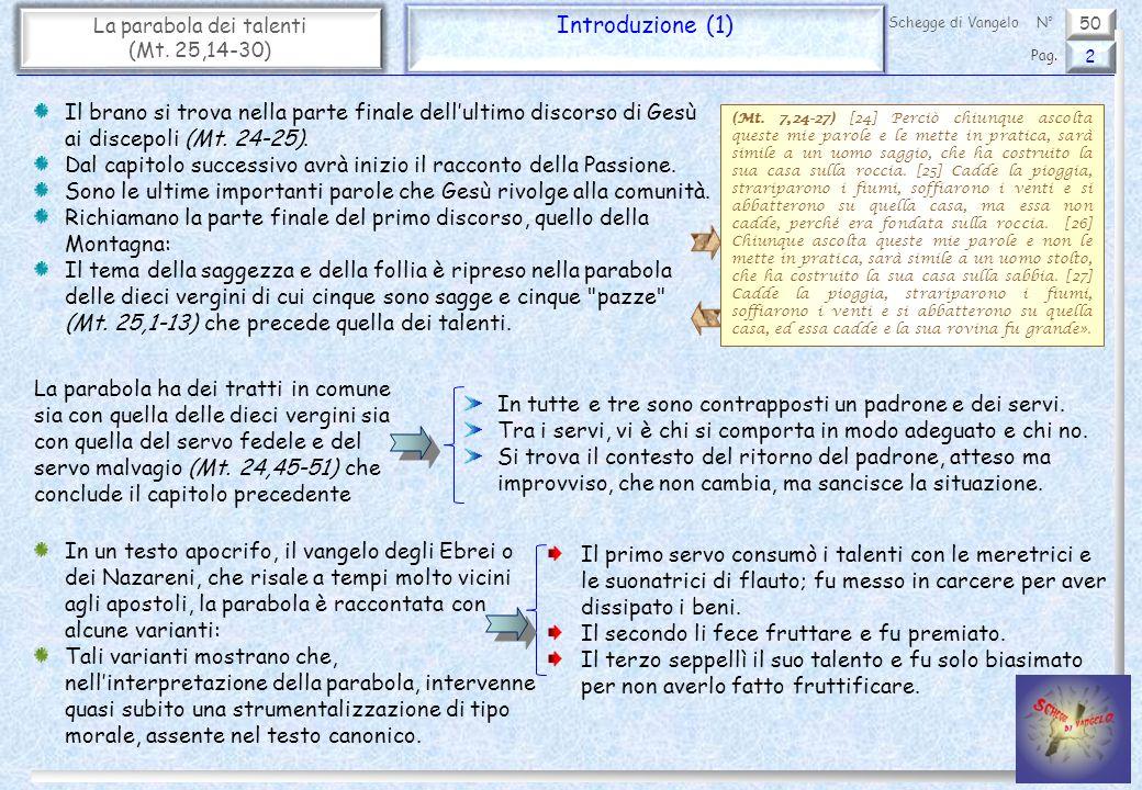 50 La parabola dei talenti (Mt.25,14-30) Introduzione (2) 3 Pag.