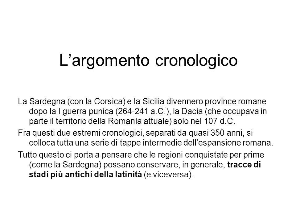 Largomento cronologico La Sardegna (con la Corsica) e la Sicilia divennero province romane dopo la I guerra punica (264-241 a.C.), la Dacia (che occup