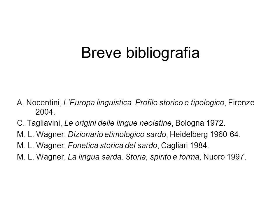 Breve bibliografia A. Nocentini, LEuropa linguistica. Profilo storico e tipologico, Firenze 2004. C. Tagliavini, Le origini delle lingue neolatine, Bo
