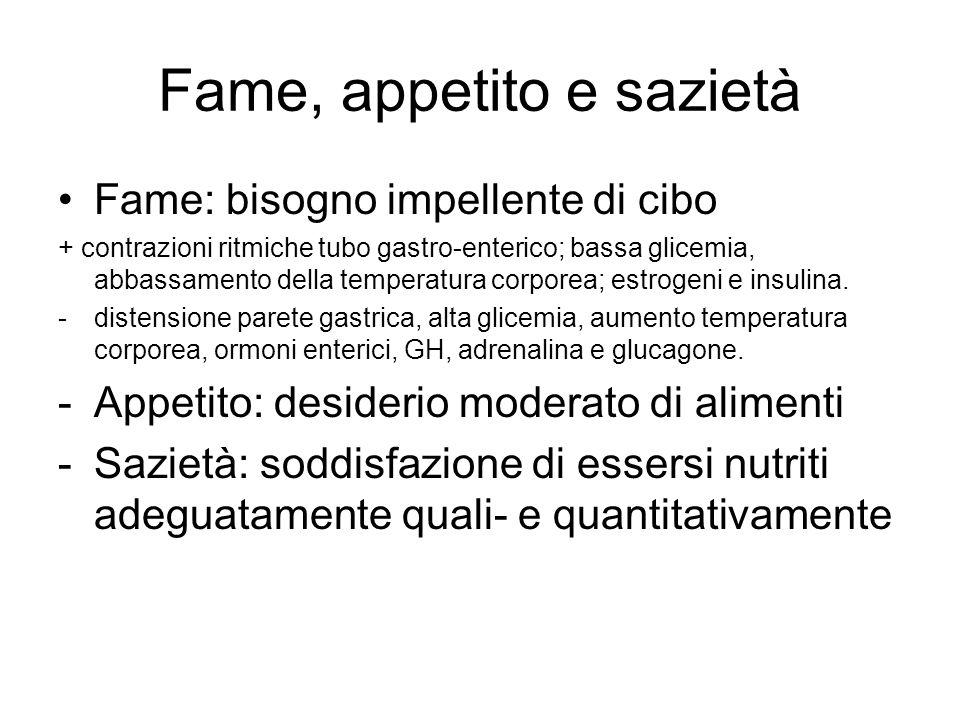 Fame, appetito e sazietà Fame: bisogno impellente di cibo + contrazioni ritmiche tubo gastro-enterico; bassa glicemia, abbassamento della temperatura