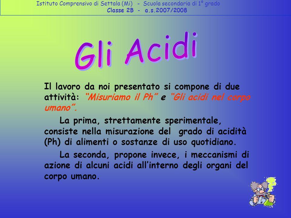 Il lavoro da noi presentato si compone di due attività: Misuriamo il Ph e Gli acidi nel corpo umano.