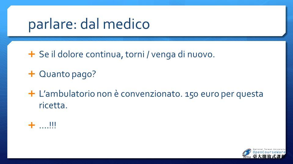 parlare: dal medico Se il dolore continua, torni / venga di nuovo. Quanto pago? Lambulatorio non è convenzionato. 150 euro per questa ricetta. ….!!!