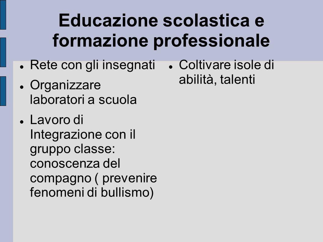 Educazione scolastica e formazione professionale Rete con gli insegnati Organizzare laboratori a scuola Lavoro di Integrazione con il gruppo classe: c