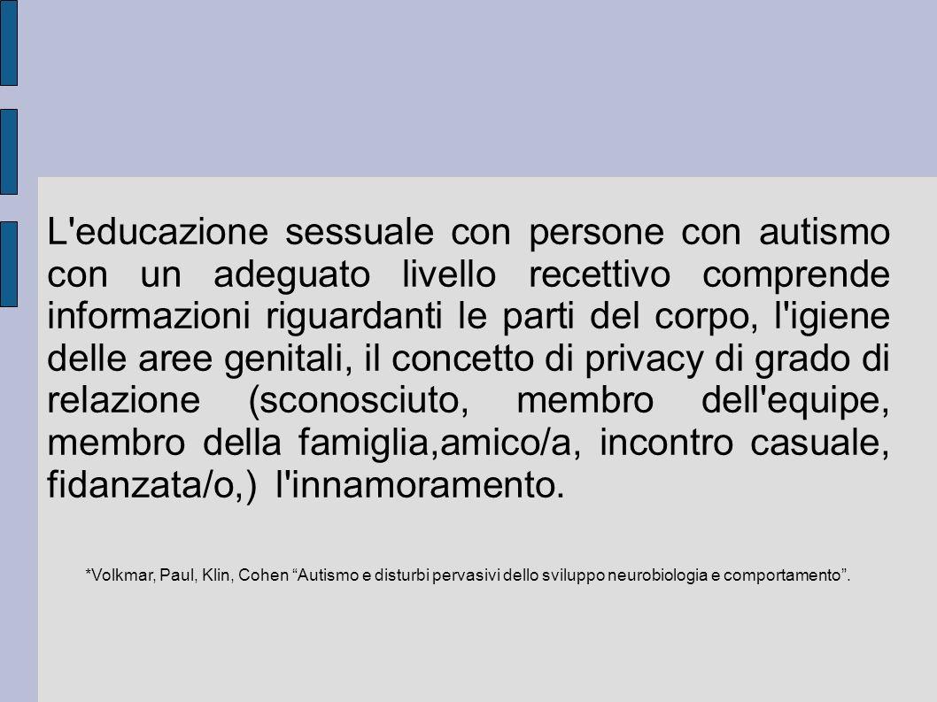 L'educazione sessuale con persone con autismo con un adeguato livello recettivo comprende informazioni riguardanti le parti del corpo, l'igiene delle