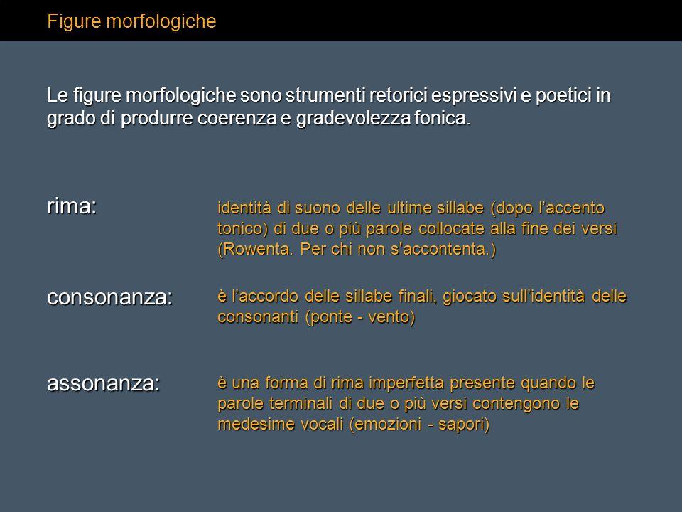 Figure morfologiche rima: identità di suono delle ultime sillabe (dopo laccento tonico) di due o più parole collocate alla fine dei versi (Rowenta.