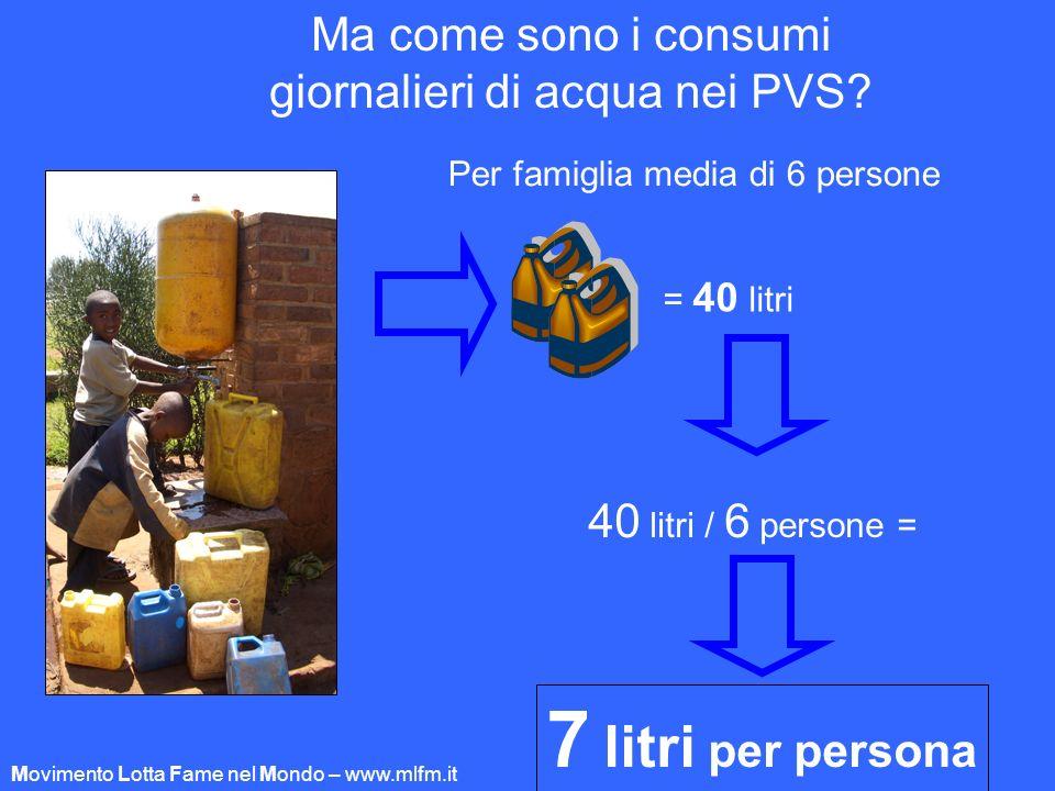 Ma come sono i consumi giornalieri di acqua nei PVS? Per famiglia media di 6 persone 40 litri / 6 persone = 7 litri per persona = 40 litri Movimento L