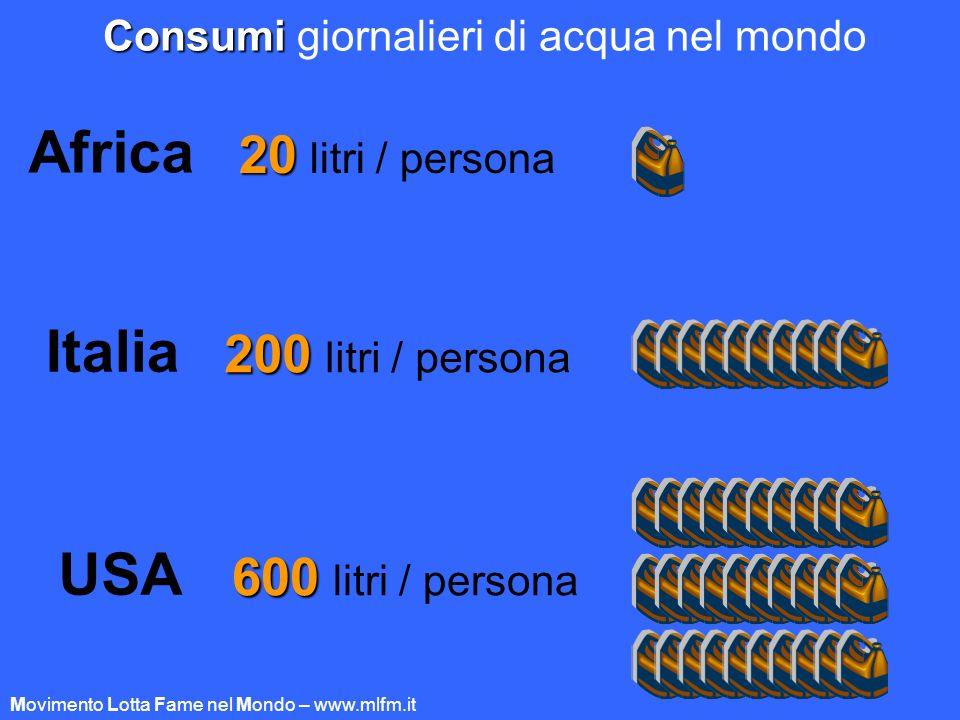 Consumi Consumi giornalieri di acqua nel mondo Africa 20 20 litri / persona USA 600 600 litri / persona Italia 200 200 litri / persona Movimento Lotta
