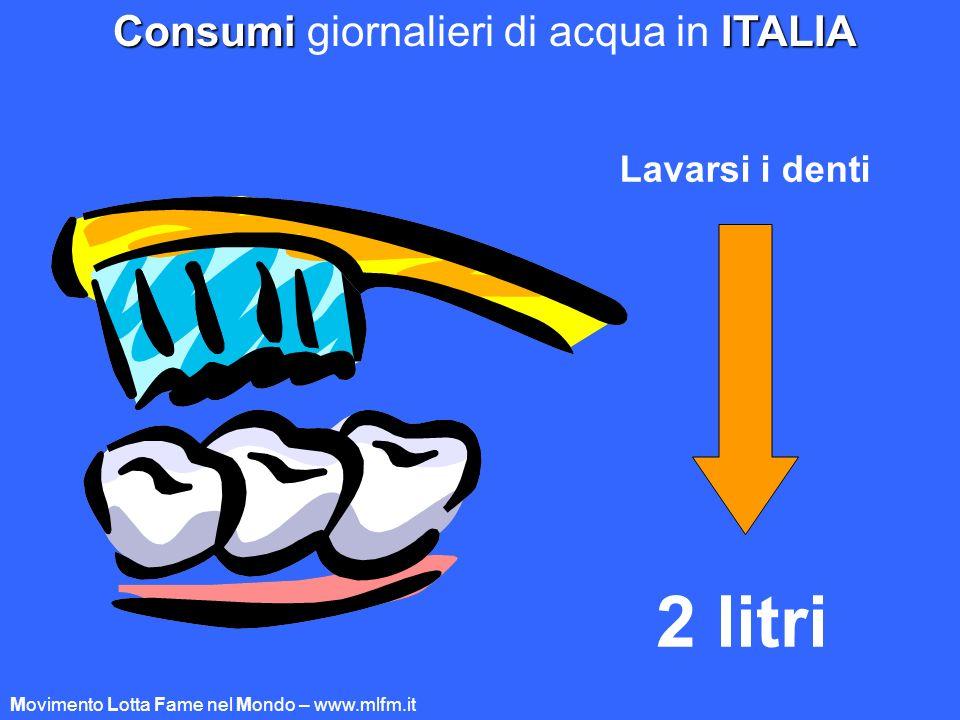 Lavarsi i denti 2 litri ConsumiITALIA Consumi giornalieri di acqua in ITALIA Movimento Lotta Fame nel Mondo – www.mlfm.it