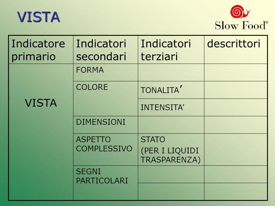 VISTA VISTA Indicatore primario Indicatori secondari Indicatori terziari descrittori VISTA FORMA COLORE TONALITA INTENSITA DIMENSIONI ASPETTO COMPLESS