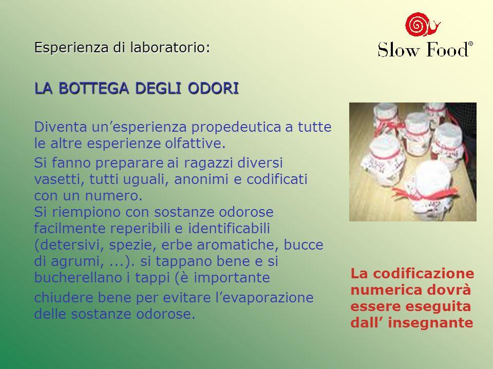 Esperienza di laboratorio: LA BOTTEGA DEGLI ODORI Diventa unesperienza propedeutica a tutte le altre esperienze olfattive. Si fanno preparare ai ragaz