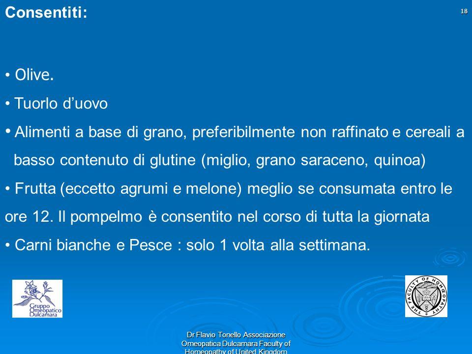 18 Dr Flavio Tonello Associazione Omeopatica Dulcamara Faculty of Homeopathy of United Kingdom Consentiti: Olive. Tuorlo duovo Alimenti a base di gran