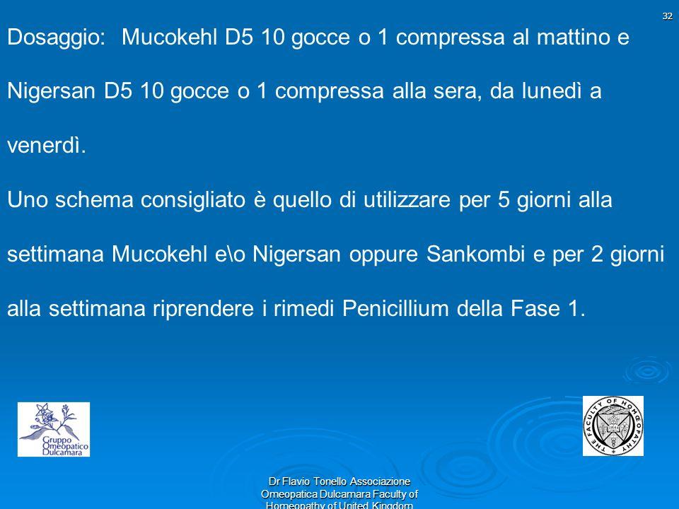 32 Dr Flavio Tonello Associazione Omeopatica Dulcamara Faculty of Homeopathy of United Kingdom Dosaggio: Mucokehl D5 10 gocce o 1 compressa al mattino