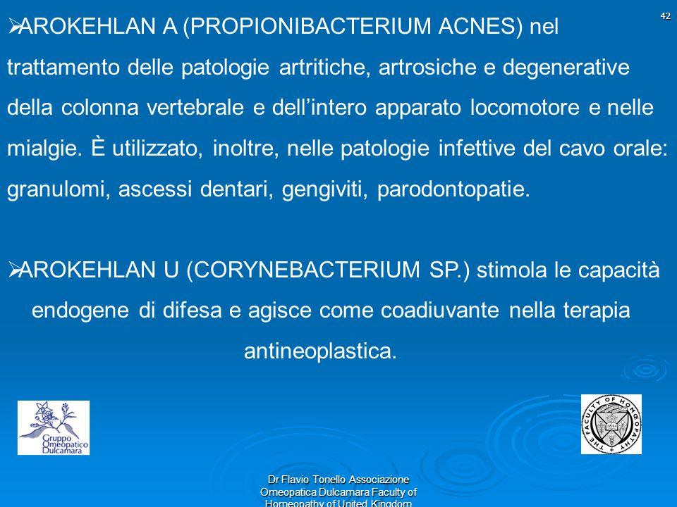 42 Dr Flavio Tonello Associazione Omeopatica Dulcamara Faculty of Homeopathy of United Kingdom AROKEHLAN A (PROPIONIBACTERIUM ACNES) nel trattamento d
