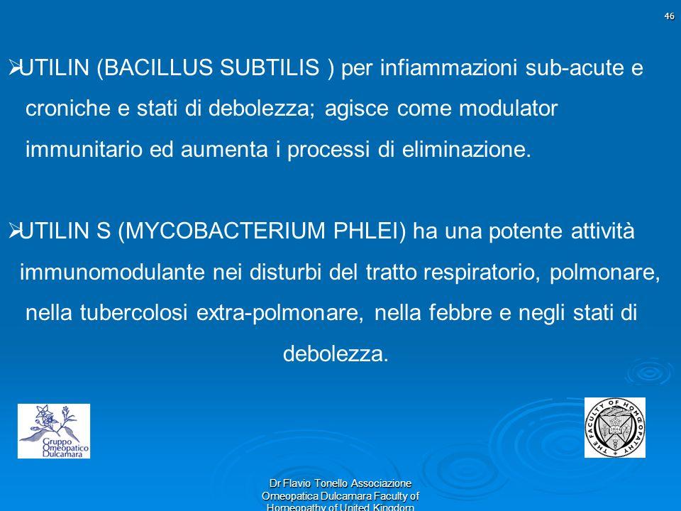 46 Dr Flavio Tonello Associazione Omeopatica Dulcamara Faculty of Homeopathy of United Kingdom UTILIN (BACILLUS SUBTILIS ) per infiammazioni sub-acute