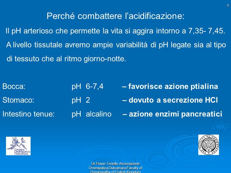 5 Dr Flavio Tonello Associazione Omeopatica Dulcamara Faculty of Homeopathy of United Kingdom Perché combattere lacidificazione: Il pH arterioso che p