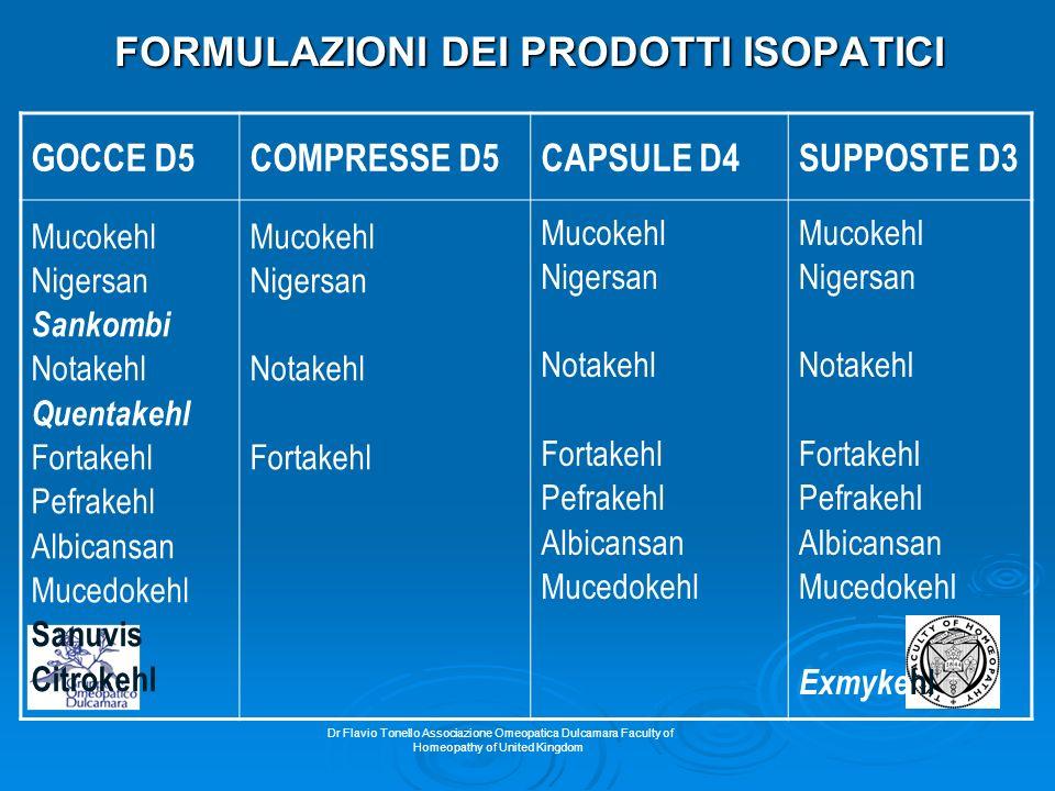 Dr Flavio Tonello Associazione Omeopatica Dulcamara Faculty of Homeopathy of United Kingdom FORMULAZIONI DEI PRODOTTI ISOPATICI GOCCE D5COMPRESSE D5CA