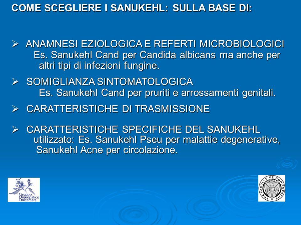 COME SCEGLIERE I SANUKEHL: SULLA BASE DI: ANAMNESI EZIOLOGICA E REFERTI MICROBIOLOGICI ANAMNESI EZIOLOGICA E REFERTI MICROBIOLOGICI Es. Sanukehl Cand