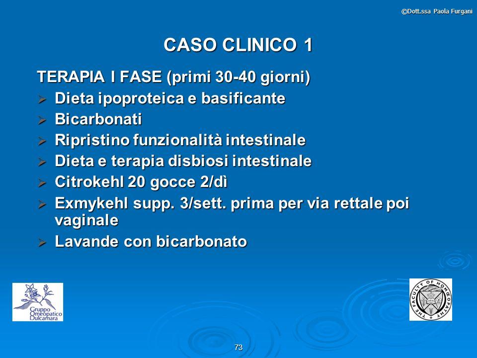 73 ©Dott.ssa Paola Furgani CASO CLINICO 1 TERAPIA I FASE (primi 30-40 giorni) Dieta ipoproteica e basificante Dieta ipoproteica e basificante Bicarbon
